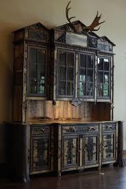custom made adirondack rustic buffet hutch cabinet