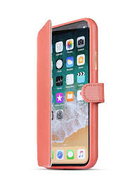 iphone x xs handmade leather case book pearl pink front