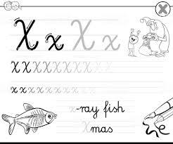 子供たちの手紙 X ブックを書くことを学ぶ X線撮影のベクターアート
