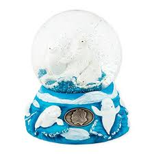 beluga whales 100mm resin glitter water globe plays tune let me call you sweetheart beluga whale gift