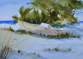 sand dune with small boat watercolor