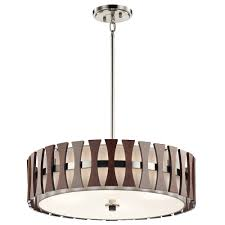 kichler 43753aub cirus modern auburn stained drum pendant lighting fixture loading zoom