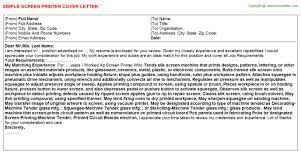 Screen Printer Job Cover Letter