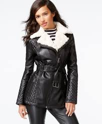guess faux fur collar quilted faux leather jacket
