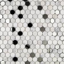 Circle Tiles Reflection Carrara Thassos Mirror Penny Round Tile