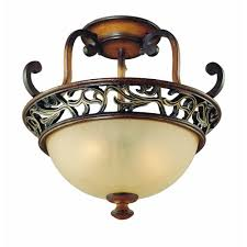 hampton bay caffe patina 2 light semi flush mount light