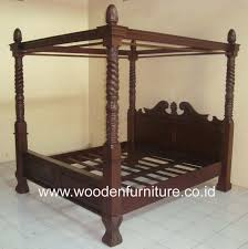 Reproduction Bedroom Furniture Teak Canopy Bed Wooden Four Posters Bed Antique Reproduction Bed