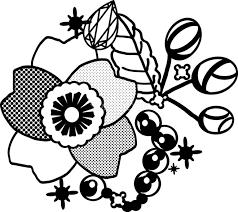 白黒の桜イラスト おしゃれドットワンポイント39636 素材good