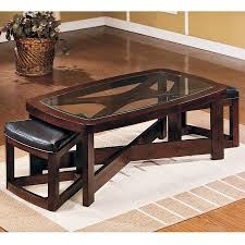 Image Of: Glass Coffee Table With Ottomans Underneath