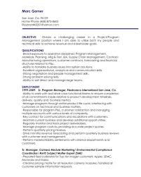 Project Manager Resume Objective 11 Statement Sample
