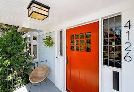 Orange front door Colors Classic Orange And White Entryway Decoist 15 Orange Front Door Painting Ideas And Inspirations That Welcome Fall
