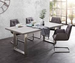 Esszimmertisch Cement Edge Grau 200x100 Beton Gestell Edelstahl