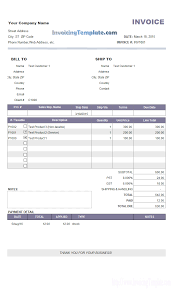 examples of billing invoices sample invoice down payment