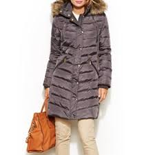 michael michael kors hooded faux fur trim down puffer coat