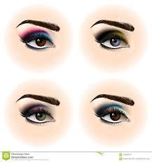 set of female eye with makeup beautiful eyes