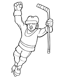 Hockey Coloring Pages Scoring A Goal Expression Coloringstar