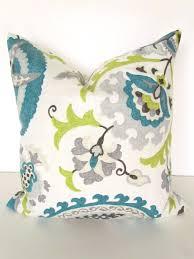 Teal Blue Pillow 16x16 Decorative Throw Pillows Gray Lime Green