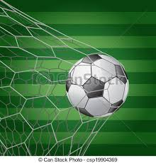 grass soccer field with goal.  Goal Soccer Ball In Goal With Grass Field  Vector Illustration For O