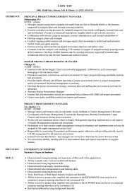 Project Procurement Manager Resume Samples Velvet Jobs