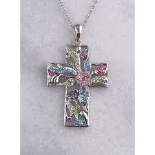 austrian crystal cross necklace item eastc 16 in 2 in