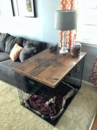 coffee table dog crate dog crate table top check out the full project how to make a coffee table dog crate