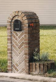 Brick Mailbox Designs Mailboxes Designs Herringbone Large Box With Two Planters