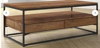 metal frame coffee table brown china