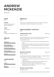 Andrew Mckenzie Resume Sample Bartender Fantastic Templates Summary