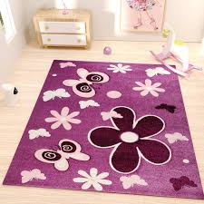 kids rug with flowers and erfly patterns and contour cut purple colours i9467