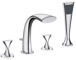 ultra faucets twist two handle deck mount roman tub faucet with