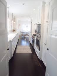 white country galley kitchen. Delighful Kitchen Stunning White Galley Kitchen Design With Darkwood Flooring Intended Country