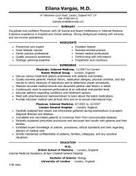 Doctor Sample Resumes Resume Template Physician Resume Sample Free Career Resume Template 1