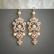 rose gold wedding earrings swarovski pearl and crystal bridal earrings vintage style filigree chandelier earrings wedding jewelry hera