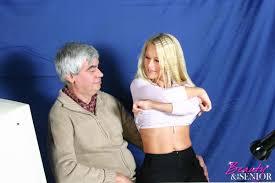 Blonde seduces old man