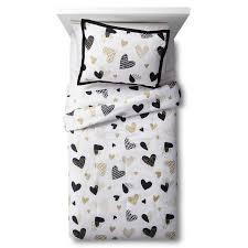 white gold hello hearts comforter set