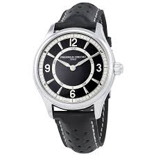 frederique constant horological smarch black leather smart watch fc 282ab5b6