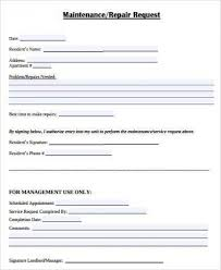 Service Call Form Template Maintenance Request Form Template Apartment Maintenance Request Form