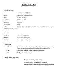 Example Of A Cv Resume Curriculum Vitae Personal Details Name