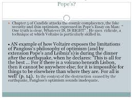 chapter voltaire s candide ppt  contrast voltaire views on optimism pope s