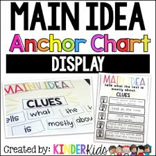 Main Idea Anchor Chart Printable Worksheets Teachers Pay