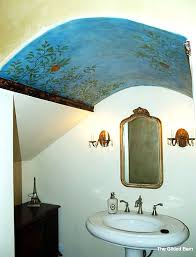 stenciled feature wall for ceiling painting