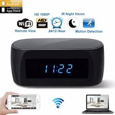 newest version wifi alarm clock with motion detection ir night vision hd 1080p mini home security real time mini recording devices