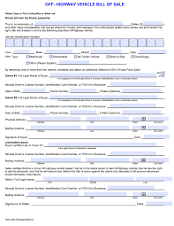 Business Bill Of Sale Form Free Nevada Off Highway Vehicle Bill Of Sale Download PDF Word 23
