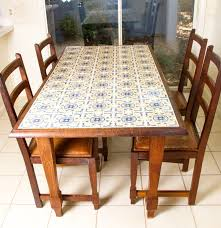 Spanish Tile Top Dining Table Chairs Ebth Kitchen Leaf Painting Table: Full  Size ...