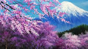 the cherry blossoms in the mt fuji acrylic painting full