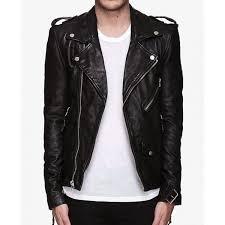 men s asymmetrical zipper biker black leather jacket