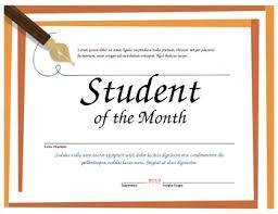 Student Of The Month Certificate Templates Student Of The Month Microsoft Word Certificate Template