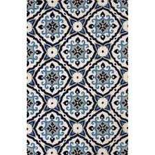 5 x 8 medium mosaic medallion navy blue outdoor rug atrium