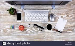 office desktop. Modren Desktop Top View Office Desktop Setup On Rustic White Wood Stock Photo  And Office Desktop D