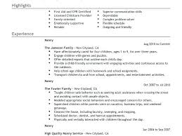 Sample Nanny Resumes Professional Good Example Resume Mesmerizing Nanny Resume Skills